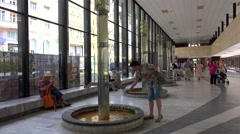 Stock Video Footage of Healing Springs in the Vridelni kolonada (Hot Spring Colonnade). Karlovy Vary