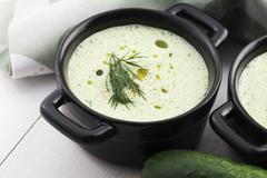 Tarator, bulgarian sour milk soup - stock photo