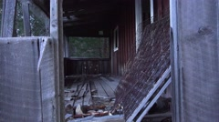 Mountain ranch house in ruins Stock Footage