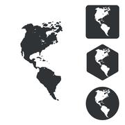 American continents icon set, monochrome - stock illustration