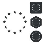European Union icon set, monochrome - stock illustration