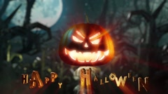 Halloween scary night holiday pumpkin in forest Stock Footage