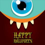 Monster face vector. halloween greeting card Stock Illustration