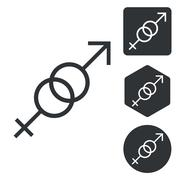 Gender symbols icon set, monochrome - stock illustration