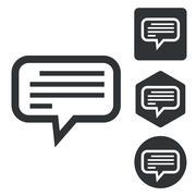 Text message icon set, monochrome Stock Illustration