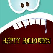 monster face vector. halloween greeting card - stock illustration