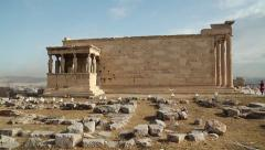 Erechtheion - antique temple in Athenian Acropolis, Greece - stock footage