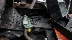 Gas mask is lying on the barricades on the Khreshchatyk street in Kiev - stock footage