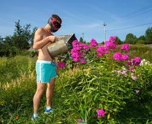 Brutal funny man in helmet watering flowers - stock photo