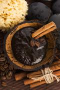 Homemade face and body organic all natural coffee scrub (peeling) with cinnamon - stock photo