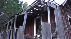 ranchers homestead abandoned, with ram skull - stock footage