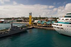 Stock Photo of Nassau terminal cruise ship port pier Bahamas tower