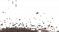 Slow Motion Cacao Nibs Falling on White Surface - stock footage