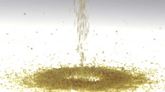 Slow Motion Couscous Falling on White Surface Stock Footage