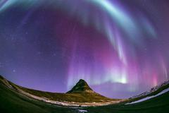 Northern Light Aurora Iceland - stock photo