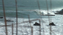 beach shoreline with grass in the foreground close up - stock footage