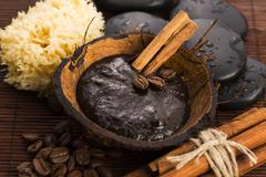 Homemade face and body organic all natural coffee scrub (peeling) with cinnamon Stock Photos