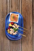 Chicken skewers  and Romesco sauce - stock photo