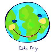 earth planet celebration day, childlike painting - stock illustration