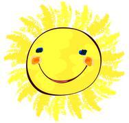 happy sun on white, childlike painting - stock illustration