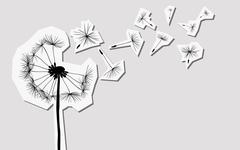 silhouettes of dandelion in the wind - stock illustration