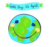 Stock Illustration of earth planet celebration day, childlike painting