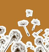 Silhouettes of dandelions in the wind Stock Illustration