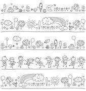 Stock Illustration of pattern for children with cute nature elements