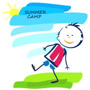 Summer camp poster with happy little boy Stock Illustration