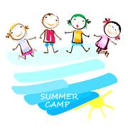 summer camp poster with happy kids - stock illustration