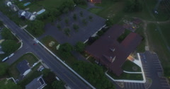 Empty parking lot aerial at dusk. Stock Footage
