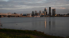 Stock Video Footage of Louisville skyline and Ohio River.