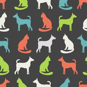 Animal seamless vector pattern of cat and dog silhouettes - stock illustration