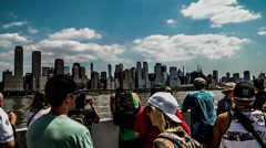 New York City, USA-Jul 6,2015: The visitors look at Manhattan skyline, NYC Stock Footage