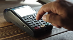 Payment with a credit card through terminal, template Stock Footage