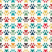 Animal seamless vector pattern of paw footprint. Endless texture - stock illustration