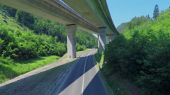 Huge viaduct with a highway on it Stock Footage