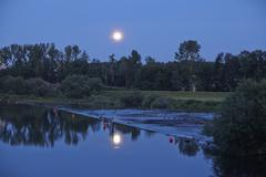 Moonrise over River Ruhr - stock photo