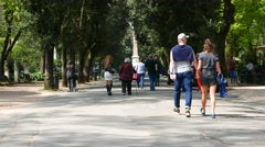 The beautiful park of Villa Borghese in Rome Stock Footage