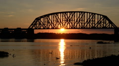 Ohio River beauty sunset with bridge. - stock footage