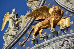 Saint Mark basilica golden lion Stock Photos