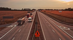 4K. Time lapse of traffic at A4 (E40) Highway, day to night. Poland, Europe. Stock Footage