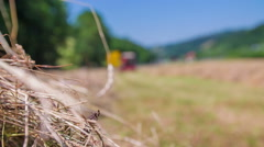 Tractor hay harvesting Stock Footage