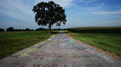 Wide shot spray painted path. Stock Footage