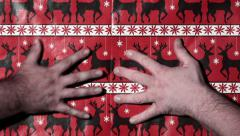 Hands Rip Open Wrapping Paper Transition Stock Footage
