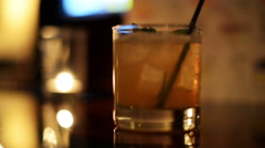 CU cocktail being stirred. Stock Footage