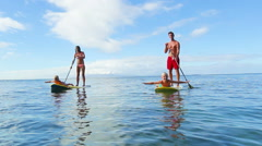Oudoor Adventure Family Stand Up Paddle Surfing Stock Footage