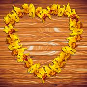 Heart Frame Yellow orchid on wood plank background - stock photo