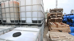 Chemical tank at storage yard - stock footage