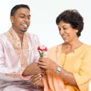 Indian family celebrate mothers day - stock photo
